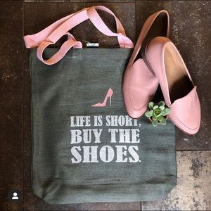 Life Is Short, Buy The Shoes Tote Bag Pink Gray